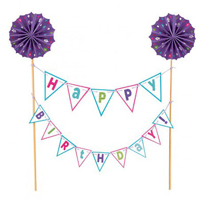 Cake Topper Happy Birthday Purple Banner Kit 22cm Wooden Picks wth Gold Foil Tops & Cardboard Banners on String - Each