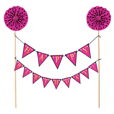 Cake Topper Happy Birthday Pink Banner Kit 22cm Wooden Picks wth Gold Foil Tops & Cardboard Banners on String - Each