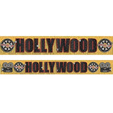 Banner Hollywood Gold Foil Fringe & Cardboard Cutouts 3m x 29cm - Each