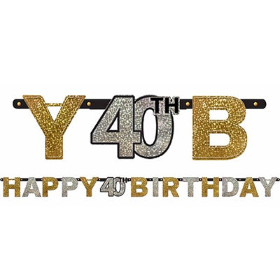 Sparkling Black Happy 40th Birthday Letter Banner  Jointed 2.13m x 16cm Holographic Cardboard Black, Gold & Silver - Each