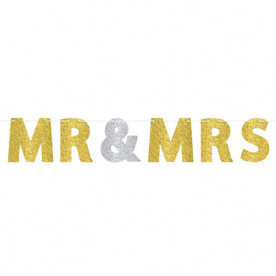 Banner MR & MRS Gold & Silver Glittered 3.65m Ribbon & 18cm Cardboard Letters - Each