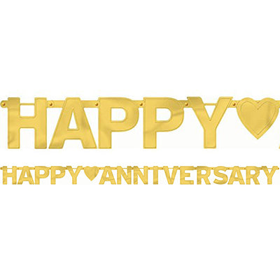 Banner Happy Anniversary Gold Letter Banner Jointed 2.3m x 16cm Foil Cardboard - Each