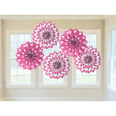Paper Fans Bright PinkTissue Paper 20cm Includes String & Sticky Tape - Supplied Flat - Pack of 5