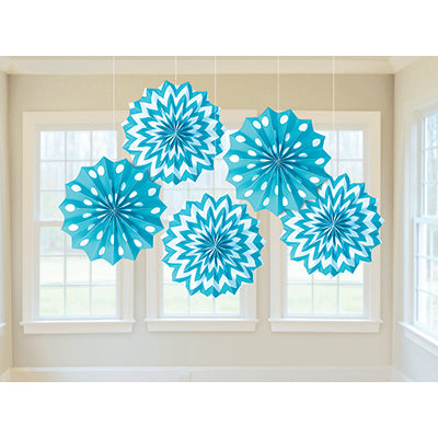 Paper Fans Caribbean Blue Tissue Paper 20cm Includes String & Sticky Tape - Supplied Flat - Pack of 5