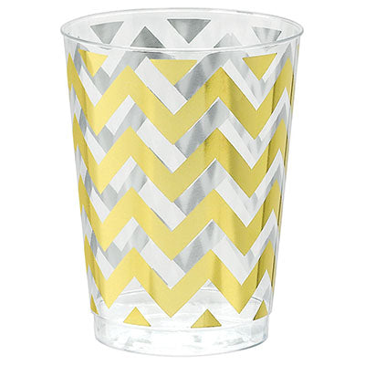 Tumblers Chevron Gold 295ml Hot Stamped Clear & Gold Plastic Cups - Pack of 20