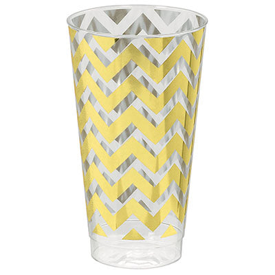 Tumblers Chevron Gold 473ml Hot Stamped Clear & Gold Plastic Cups - Pack of 16