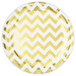 Banquet Plates Chevron Gold Hot Stamped Round 26cm Plastic - Pack of 10