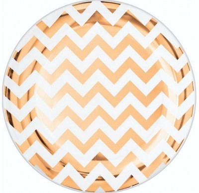 Banquet Plates Chevron Rose Gold Hot Stamped Round 26cm Plastic - Pack of 10