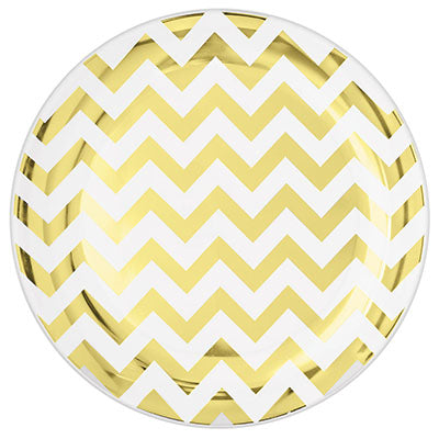 Lunch Plates Chevron Gold Hot Stamped Round 19cm Plastic - Pack of 20