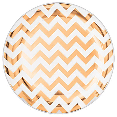 Lunch Plates Chevron Rose Gold Hot Stamped Round 19cm Plastic - Pack of 20