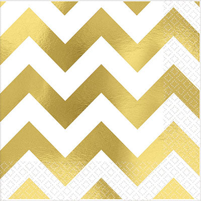 Beverage Napkins Chevron Gold Hot Stamped 25cm x 25cm - Pack of 16