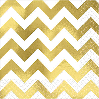 Lunch Napkins Chevron Gold Hot Stamped 33cm x 33cm - Pack of 16