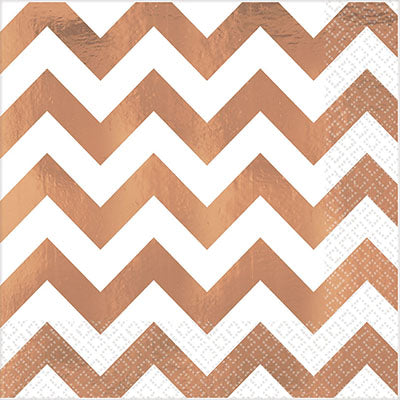 Lunch Napkins Chevron Rose Gold Hot Stamped 33cm x 33cm - Pack of 16