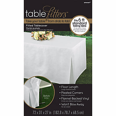 Tablecover White Tablefitter Flannel Backed Vinyl & Pleated Corners - Fits Standard Folding Table 1.82m x 79cm x 68cm Easy Care - Wipe Clean - Each