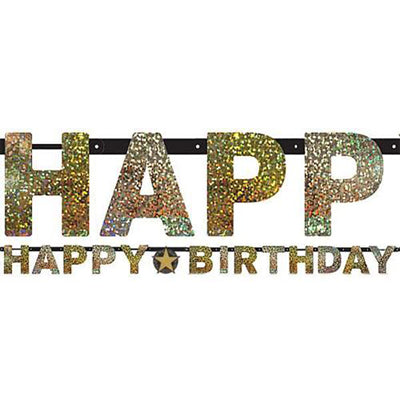 Sparkling Black Happy Birthday Letter Banner Jointed 2.13m x 16cm Holographic Cardboard Black & Gold - Each
