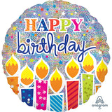 Shape Happy Birthday Candles Holographic 81cm Foil Balloon (Self Sealing Balloon, Requires Helium Inflation) - Each