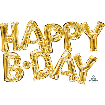 Shape HAPPY B-DAY Script Gold Air Fill Only