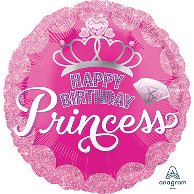 45cm Happy Birthday Princess Crown & Gems Foil Balloon (Self Sealing Balloon, Requires Helium Inflation) - Each