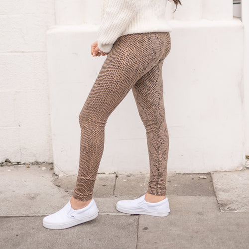 Untamed Snake Print Leggings- Taupe