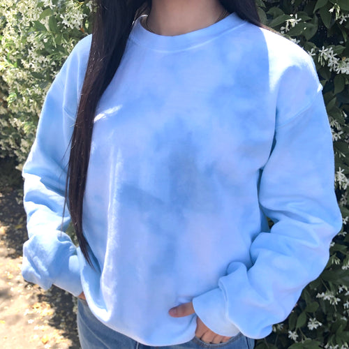 To Dye For Crewneck- Baby Blue Tie Dye