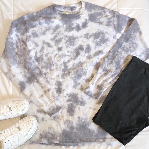 Ride or Dye Long Sleeve Tee- Gray Tie Dye