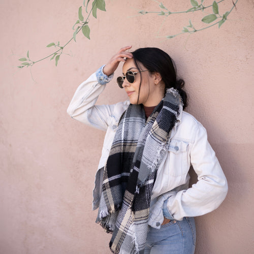 So Plaid Scarf - Grey