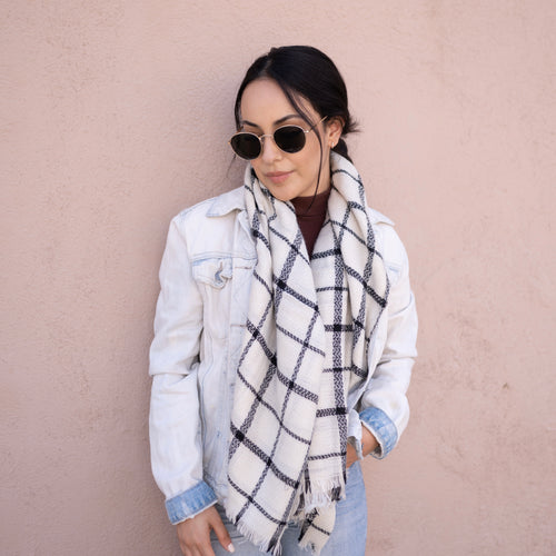 So Plaid Scarf - White
