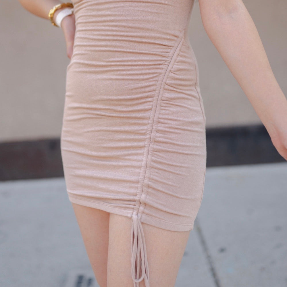 Furtado Side Ruched Dress - Sand