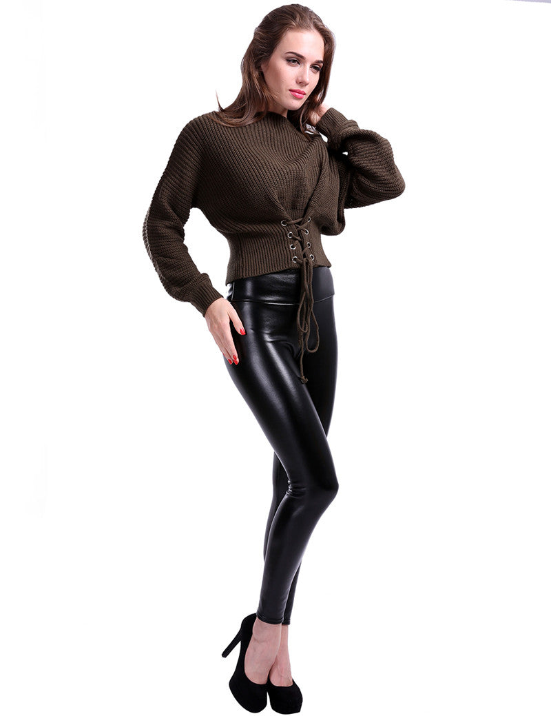 Faux-Leather Winter Push Up Leggings