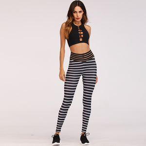Striped High Waist Push Up Leggings