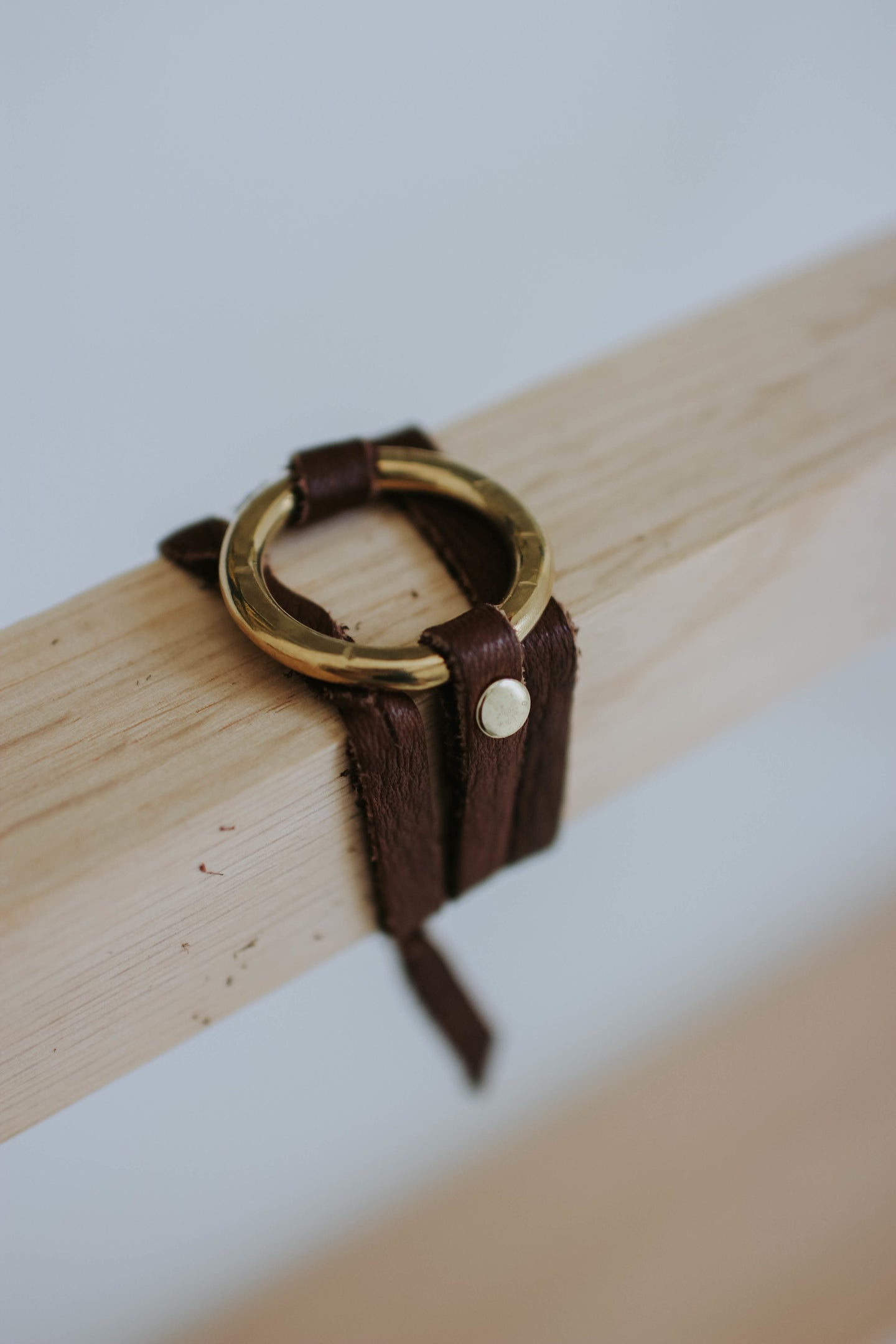 Dark Brown Leather Wrap Braided Bracelet with Small Brass Ring