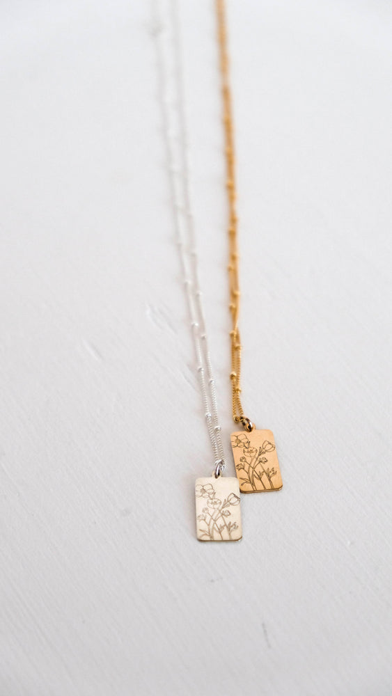 Wildflower silver & gold tag necklace