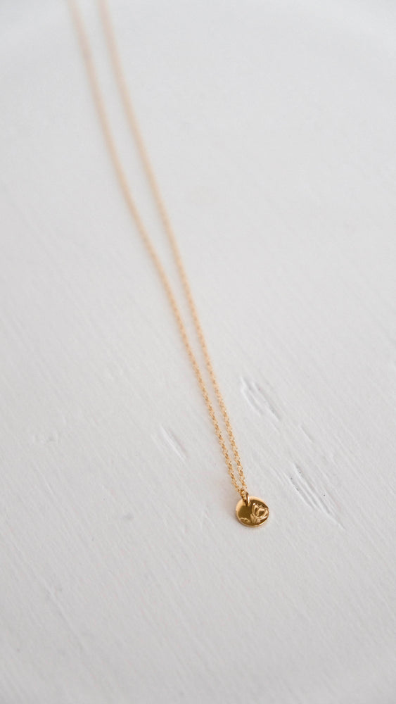 Gold flower bud coin necklace