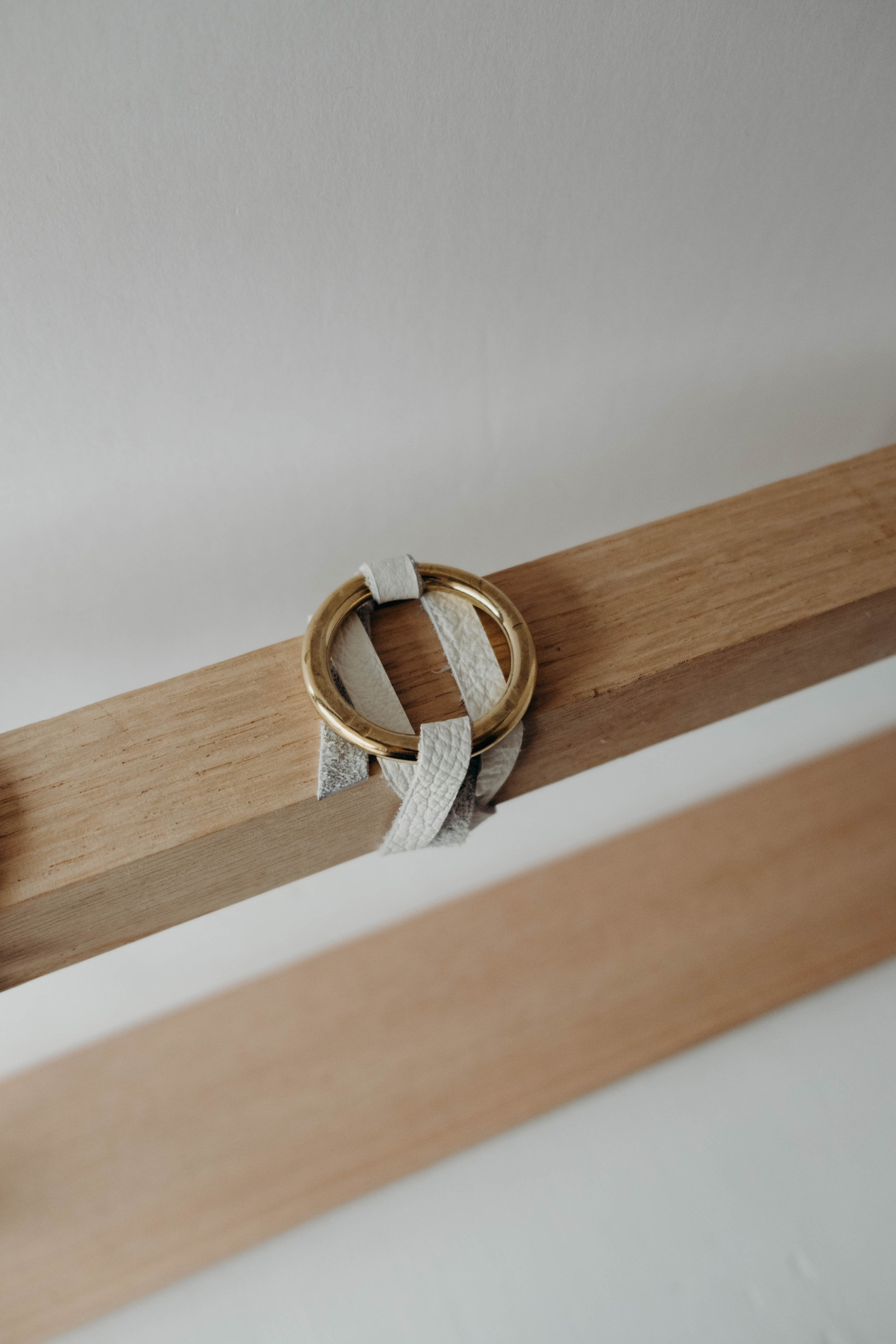 Gresham Large Ring Chestnut or White Leather Wrap Bracelet with Large Nickel or Brass Ring