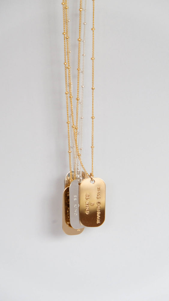 Inspired minimal dog tag necklace