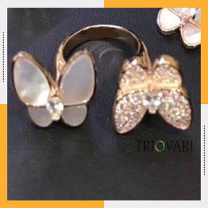 White Butterfly Double Ring