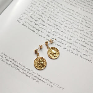 Real 925 Sterling Silver Stylish Coin Earrings