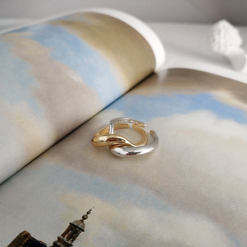 Real 925 Sterling Silver Twin Rings