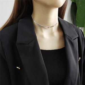 Real 925 Sterling Silver Asymmetric Chic Choker