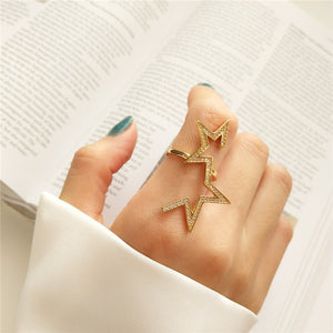 Real 925 Sterling Silver Cute Star Design Ring