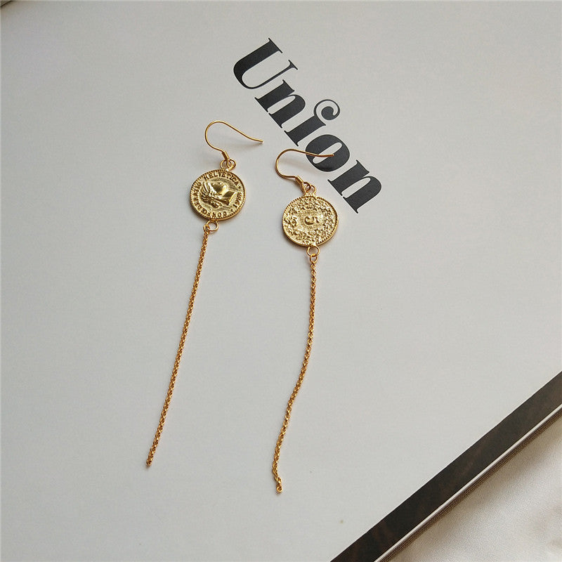 Real 925 Sterling  Coin Tassel Drop Earrings