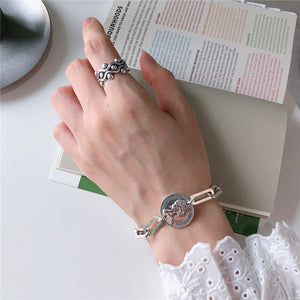 Real 925 Sterling Silver Handmade Buckle Chain Bracelet