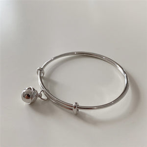 Real 925 Sterling Silver Bell Charm Bangle