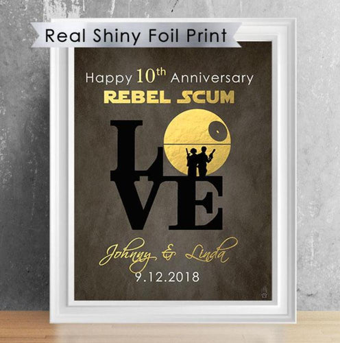 Personalized Star Wars Anniversary Foil Print - Death Star Love Sign 8X10