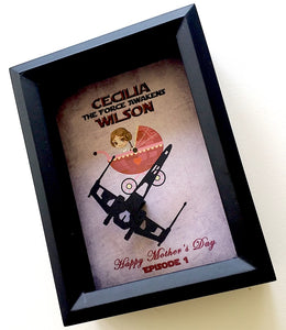 Personalized Force Awakens Baby Shadowbox - 5X7 X Wing Shadowbox, 1st Time or New Parent Gift