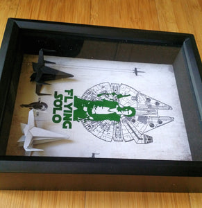 "Star Wars 8X10 ""Flying Solo"" Origami X Wing 3D Collectible Shadowbox"