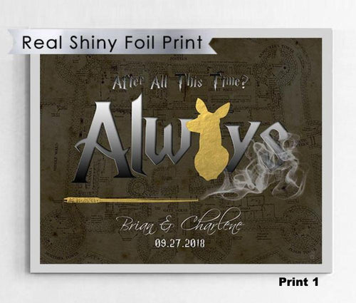 Shiny Gold Foil Harry Potter Art Print 8X10 - Famous Word From Snape
