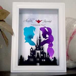 Disney's Aladdin And Jasmine 3D Shadowbox - Disney Castle 5X7