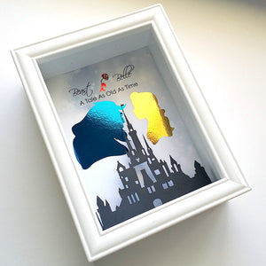 Beauty & The Beast 3D Shadowbox Disney Castle - 5X7