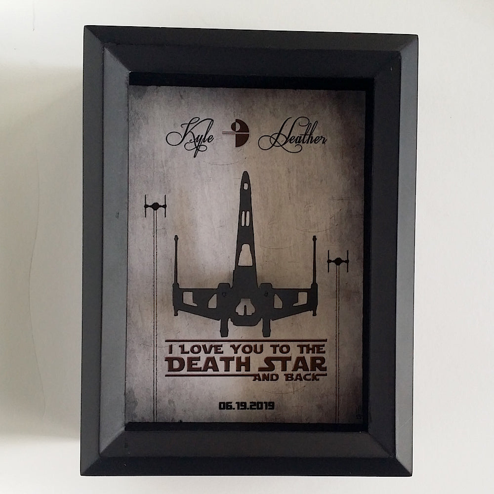 Personalized Star Wars Couple 3D Shadowbox - I Love You To The Death Star And Back - 5X7